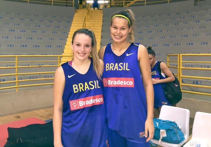 Dupla da base do basquete de Presidente Venceslau, Clarissa  Geovana (Foto: Clarissa Carneiro / Arquivo pessoal)