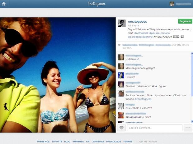 Renato Goés publica selfie com Nathalia Dill e Paula Burlamaqui (Foto: Reprodução/Renato Góes/Instagram)