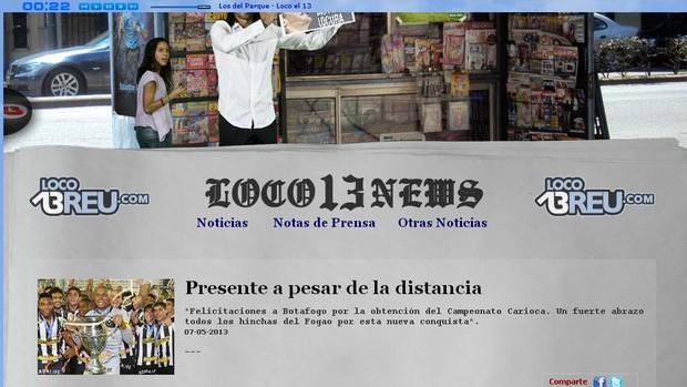 Loco Abreu parabeniza o Botafogo pelo título (Foto: Reprodução site Loco Abreu)