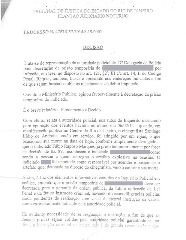 Justiça do Rio decreta prisão temporária de suspeito de atingir o cinegrafista Santiago Andrade. (Foto: Reprodução / TJRJ)