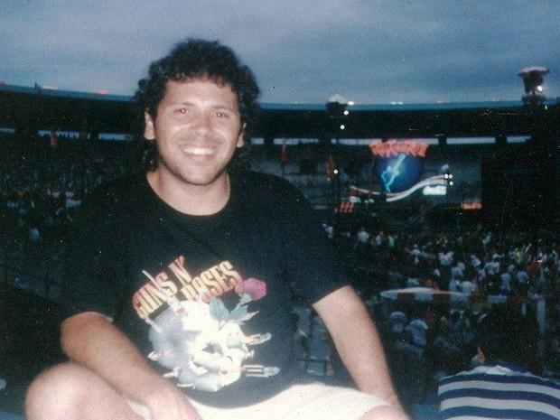 Cláudio Maradona no Maracanã, durante a segunda edição do Rock in Rio. (Foto: Cláudio Maradona/ Arquivo pessoal)
