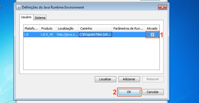 Ativando o Java na janela de definições do Java Runtime (Foto: Reprodução/Edivaldo Brito)