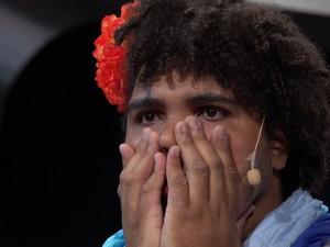 O humorista tocantinense emocionou a todos quando foi escolhido o vencedor do programa (Foto: Reprodução/Multishow)