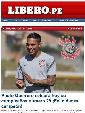 Aniversário de Guerrero é destaque na imprensa peruana (Foto: reprodução)