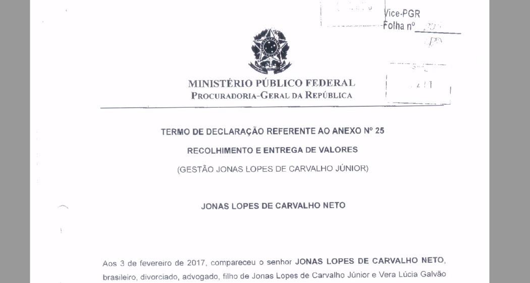 Trecho da delação premiada de Jonas Neto, filho do ex-presidente do TCE-RJ Jonas Lopes (Foto: Reprodução)