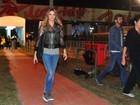 Fernanda Lima faz passagem relâmpago pelo Rock in Rio