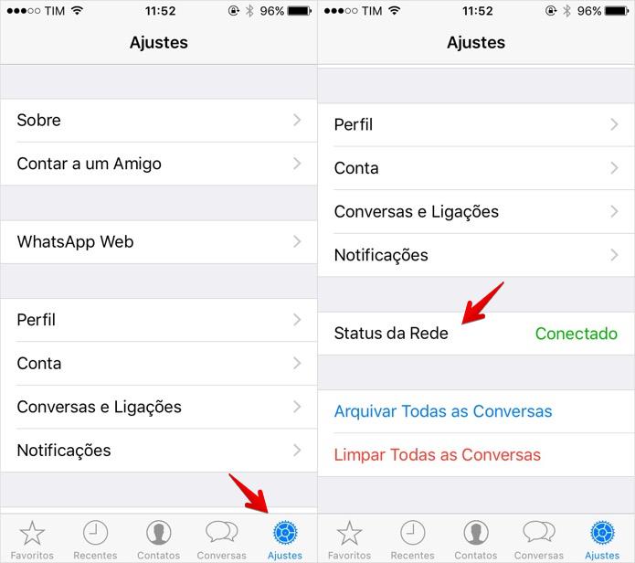 Verificando o status da rede do WhatsApp no iOS (Foto: Reprodução/Helito Bijora)