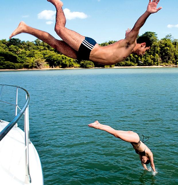"""""""Quero me jogar nesse mar lindo!"""", diz Sérgio, antes do mergulho  (Foto:  )"""