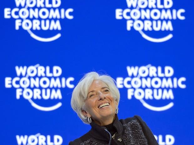 Christine Lagarde, direito do FMI, no último dia do Fórum Econômico Mundial, em Davos (Foto: Fabrice Coffrini/AFP)