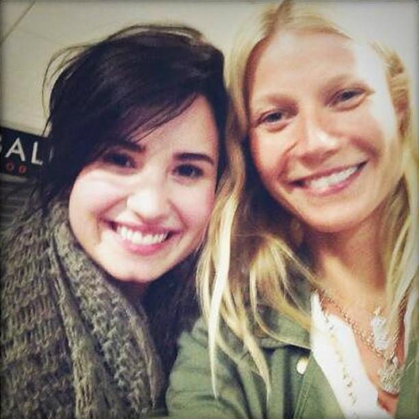 """Bastou a atriz Gwyneth Paltrow (à dir.) verificar que a cantora Demi Lovato estava no mesmo voo que ela e — clic! — fizeram uma """"selfie"""". (Foto: Twitter)"""