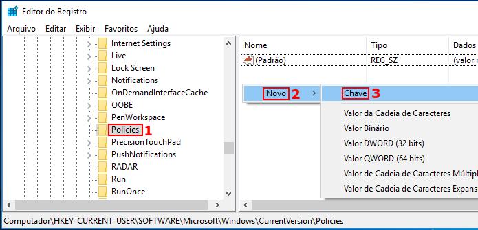 Criando uma nova chave no registro do Windows abaixo de Policies (Foto: Reprodução/Edivaldo Brito)