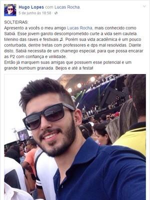 Após post, 120 meninas adicionaram Lucas na rede social, alfenas (Foto: Reprodução / Facebook / Lucas Rocha)