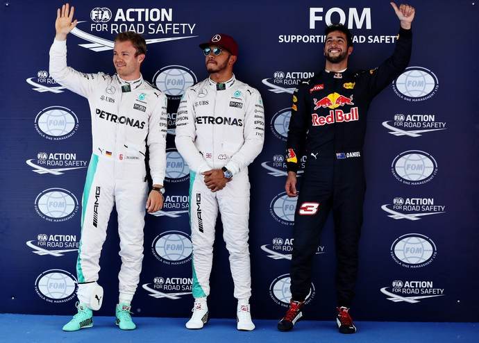Nico Rosberg, Lewis Hamilton e Daniel Ricciardo GP da Espanha Fórmula 1 2016 (Foto: Getty Images)