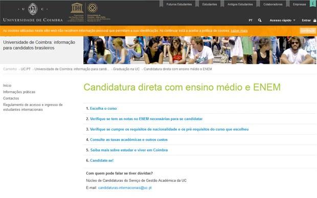 Site da Universidade de Coimbra traz todas as informações para os brasileiros (Foto: Reprodução/Universidade de Coimbra)
