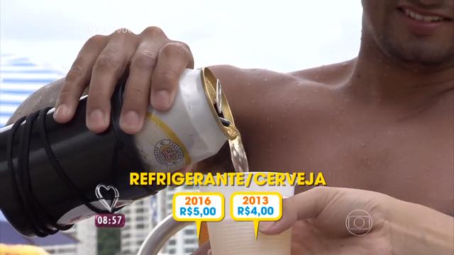 As bebidas estão mais caras nas praias da Baixada Santista (Foto: Reprodução/TV Tribuna)