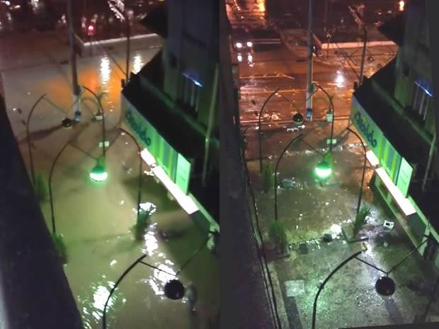 Foto mostra Centro de Barra Mansa alagado e depois da chuva, quando água já tinha baixado (Foto: Umbelina Maria Paulino Rodrigues/Arquivo Pessoal)