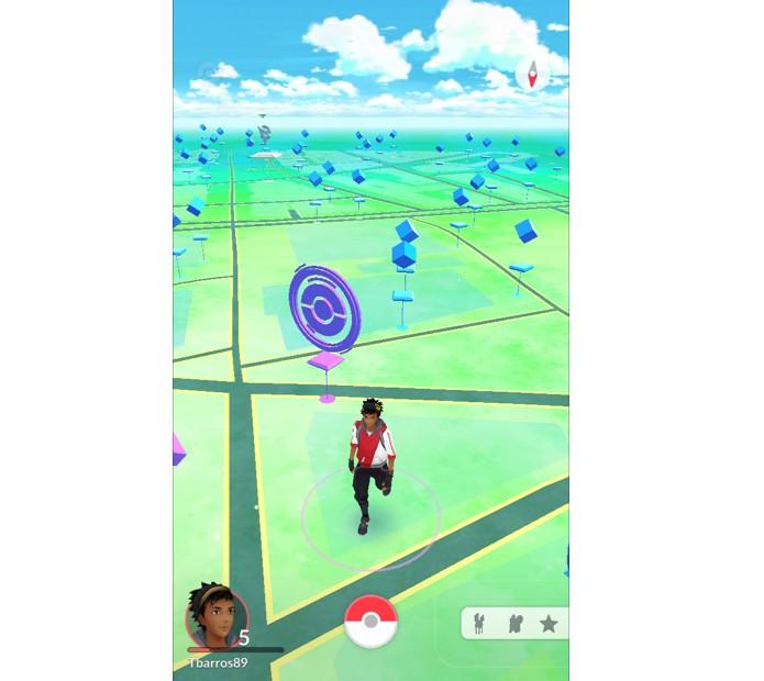 Assim ficará o mapa após visitar Pokéstops em Pokémon GO (Foto: Reprodução/Thiago Barros)