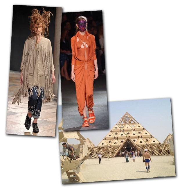 Os looks do verão de Junya Watanabe e Givenchy; e, abaixo, o festival de autoexpressão Burning Man, que acontece num deserto em nevada (Foto:  )