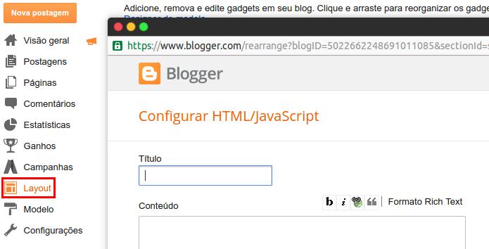 Adicionando HTML na página do  Blogger  (Foto: Reprodução/Edivaldo Brito)
