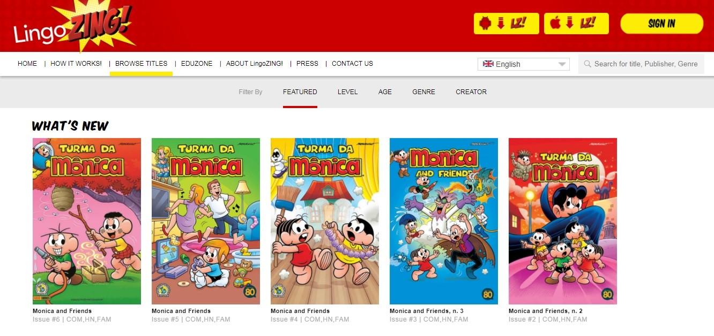 App LingoZING! conta com versões da Turma da Mônica em inglês, espanhol e francês (Foto: Divulgação)