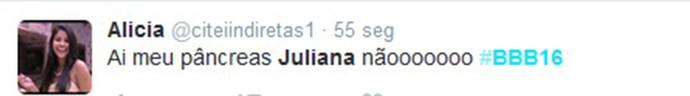 Internauta não gosta da liderança de Juliana (Foto: Reprodução Internet)