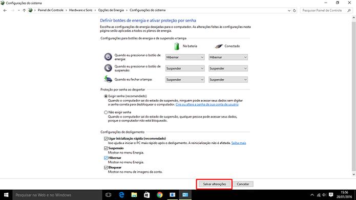 Windows 10 exige que o usuário salve alterações antes de continuar (Foto: Reprodução/Elson de Souza)