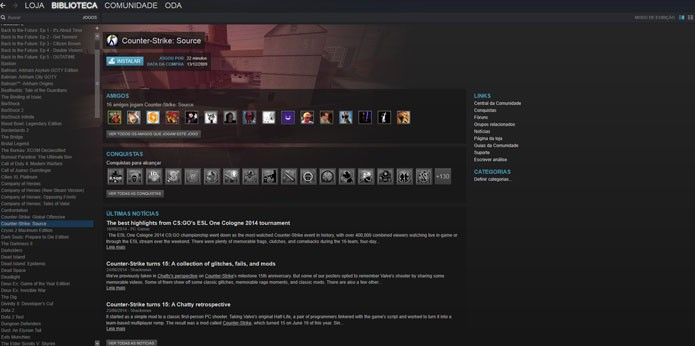 Encontre CS Source na sua biblioteca e instale o game (Foto: Reprodução/André Mello)
