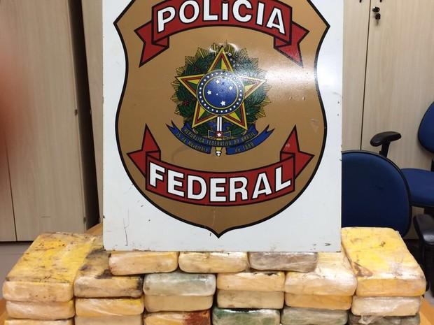 Foram apreendidos 28 quilos de cloridrato de cocaína durante operação (Foto: Divulgação/Polícia Federal)