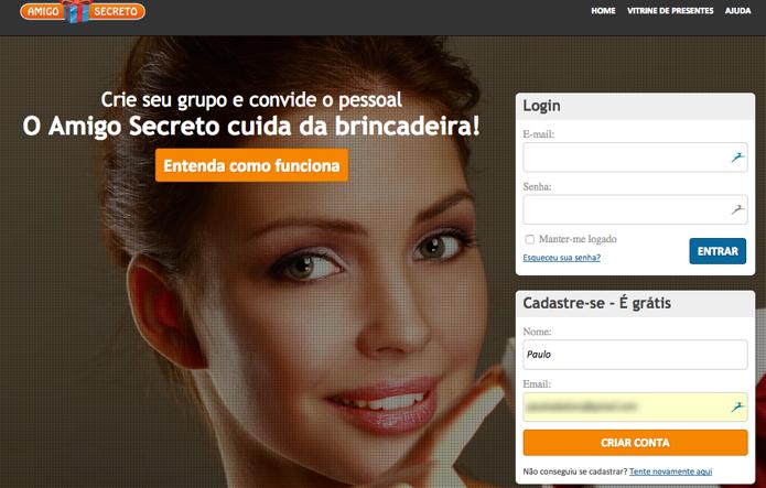 Faça login ou crie uma conta nova (Foto: Reprodução/Paulo Alves)