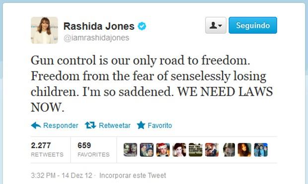 Tuíte da atriz Rashida Jones (Foto: Reprodução)