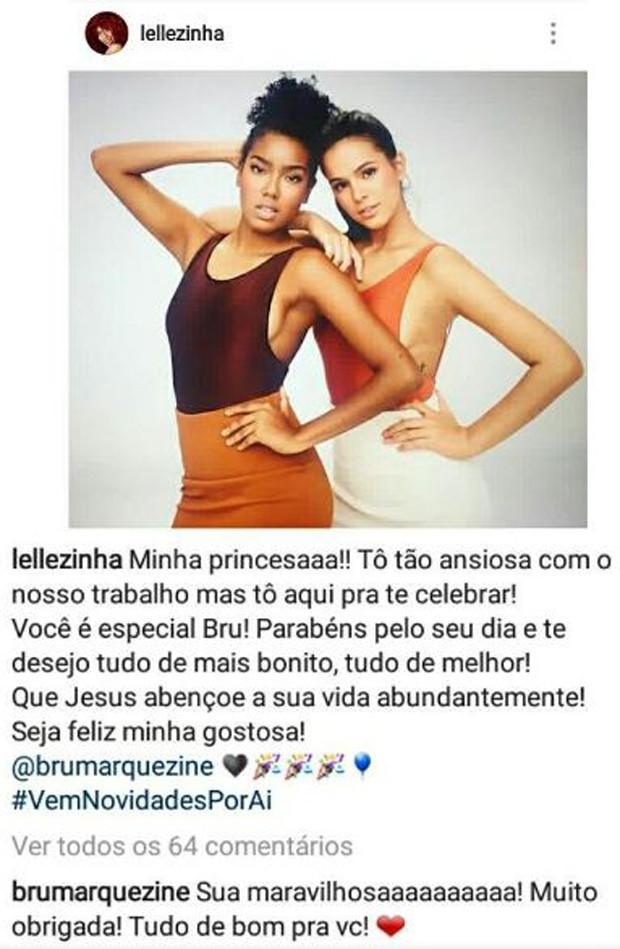 Lelezinha e Bruna Marquezine (Foto: Reprodução/Instagram)