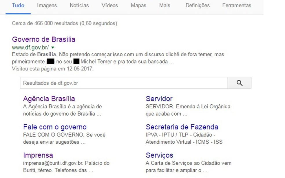 Site do governo do DF com mensagens de repúdio ao governo Temer (Foto: Google/Reprodução)