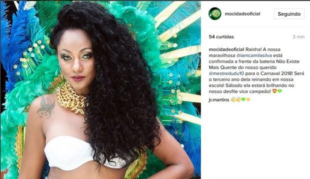 Camila Silva seguirá como rainha de bateria da Mocidade em 2018 (Foto: reprodução/Instagram)