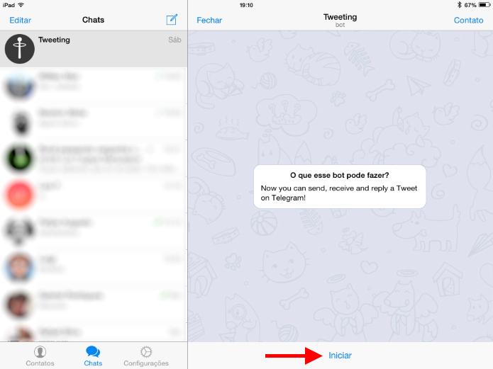 Ao acessar o bot, uma nova conversa será criada no Telegram (Foto: Reprodução/Ricardo Fraga)