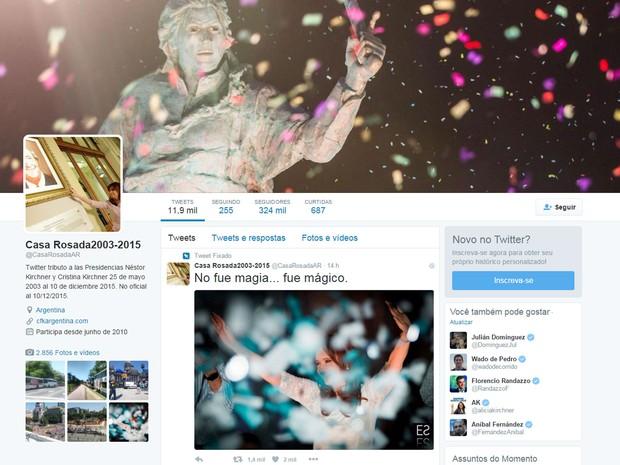 Perfil da Casa Rosada no Twitter em 10 de dezembro (Foto: Reprodução/Twitter/ @CasaRosadaAR)