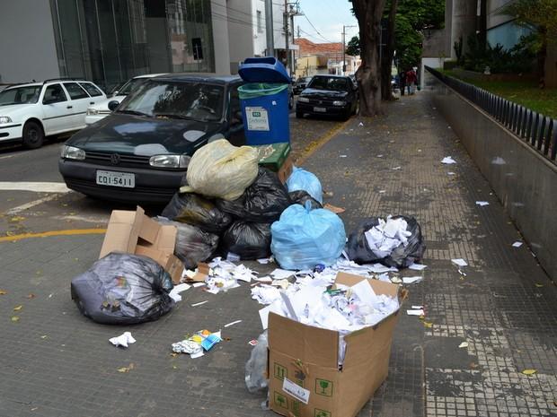 Documentos bancários ficam expostos em lixo em frente a agência no Centro de Piracicaba (Foto: Fernanda Zanetti/G1)