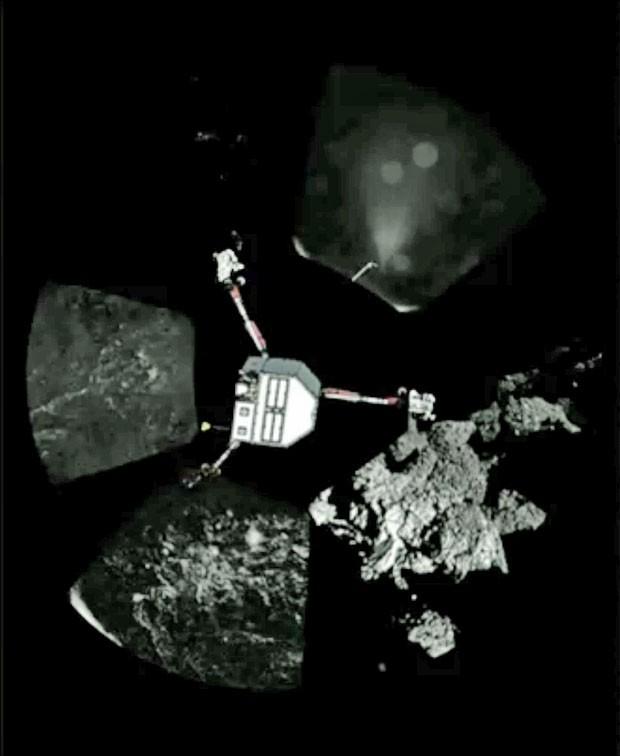 Montagem mostra uma combinação panorâmica de fotos tiradas pelo módulo Philae (Foto: Divulgação/ESA)