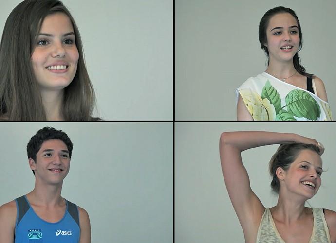 Camila Queiroz, Agatha Moreira, Bella Piero e João Vitor Silva durante preparação de elenco (Foto: TV Globo)