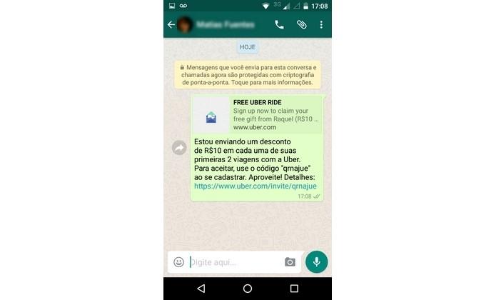 Convite do Uber enviado para amigo via WhatsApp (Foto: Reprodução/Raquel Freire)