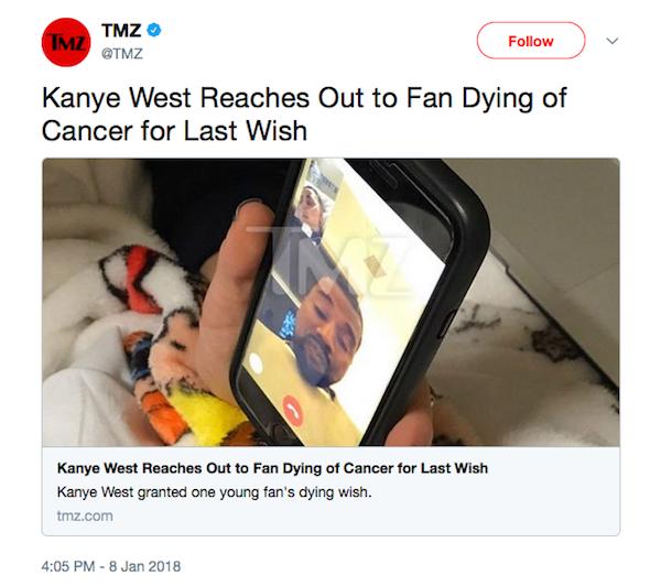 A foto da ligação em vídeo feita por Kanye West para a garotinha com câncer (Foto: Twitter)