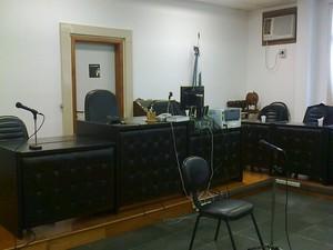Salão onde vai acontecer o julgamento de Dayana de Oliveira (Foto: Heitor Moreira / G1)