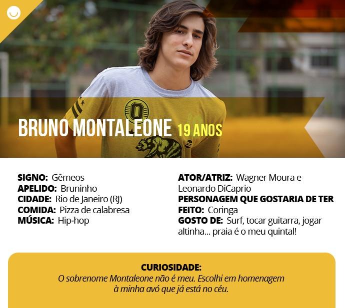 Card com informações curiosas de Bruno Montaleone (Foto: Gshow)