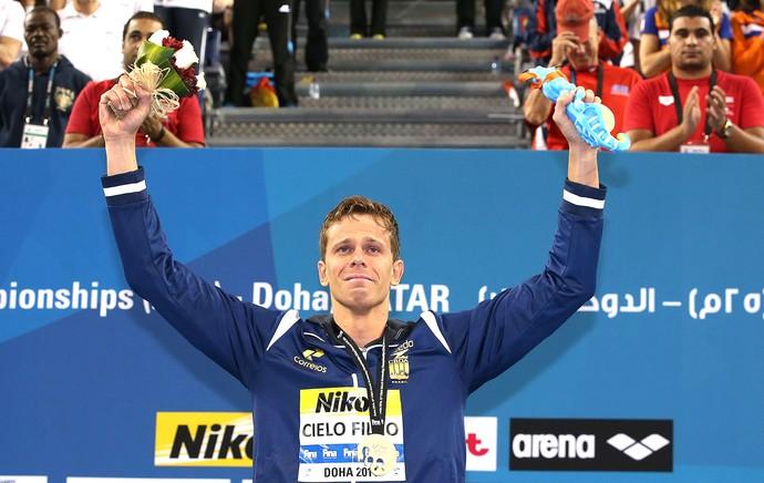 Cesar Cielo, medalha de ouro, Mundial de Natação Doha (Foto: Satiro Sodré / SSpress)
