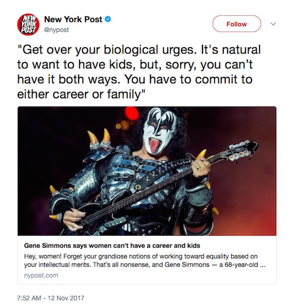 O tuíte do jornal New York Post chamando atenção para a declaração de Gene Simmons do Kiss (Foto: Twitter)
