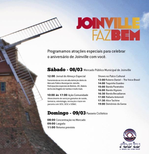 programação aniversário joinville (Foto: Divulgação/RBS TV)