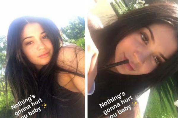 A socialite Kylie Jenner provocando seus seguidores com mensagem sobre o suposto bebê (Foto: Snapchat)