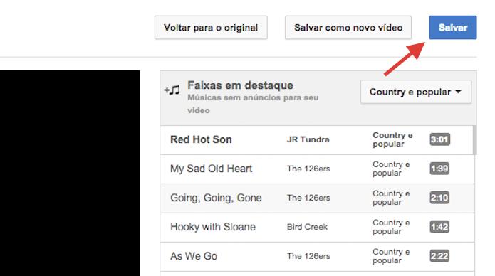 Salvando a faixa selecionada para que ela seja inserida ao vídeo de seu canal do YouTube (Foto: Reprodução/Marvin Costa)