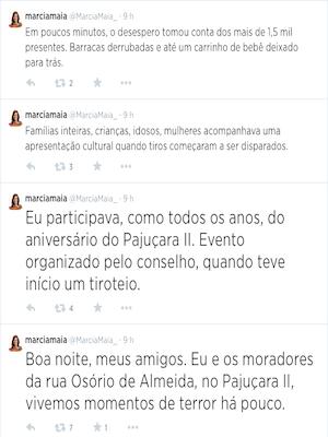 Deputada estadual Márcia Maia presenciou o crime durante festa na Zona Norte de Natal, RN (Foto: Reprodução/Twitter)