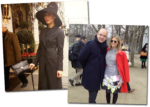 Ulyana Sergeenko, que está nas páginas da Vogue de março; Giovanni Frasson e Helena Bordon na chegada ao desfile de Viktor&Rolf (Foto: Reprodução/Instagram)