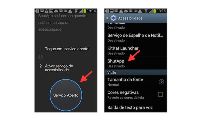Ativando o ShutApp nas configurações de acessibilidade do Android (Foto: Reprodução/Marvin Costa)